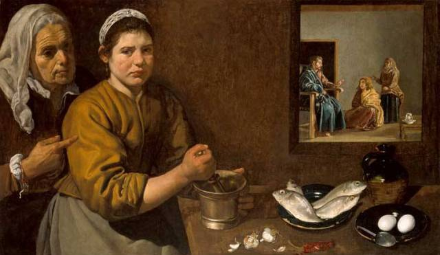 Marta VELAZQUEZ_Diego_Rodriguez_de_Silva_1618_Kitchen_scene_with_Christ_in_the_house_of_Martha_and_Mary